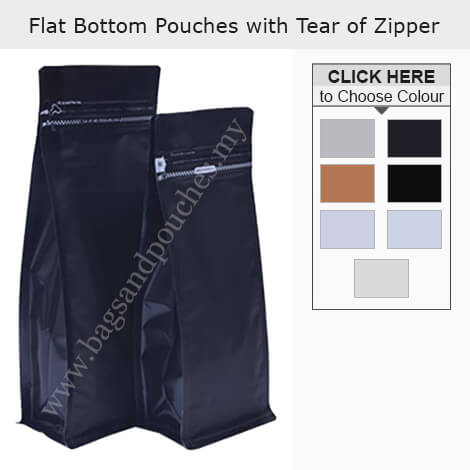 Flat Bottom Pouch With Tear Off Zipper